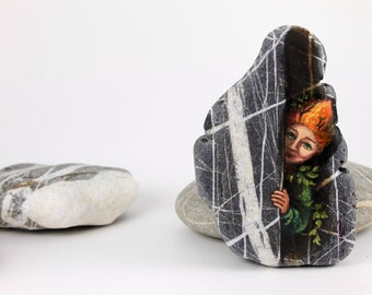 Painted stone. Ready to ship. Express Free shipping Little elf , sprite of the forest painted pebble. Beach pebbles art. Free shipping