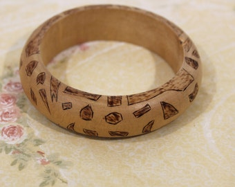 Unique Wood Bangle Bracelet With Etched / Burn Design