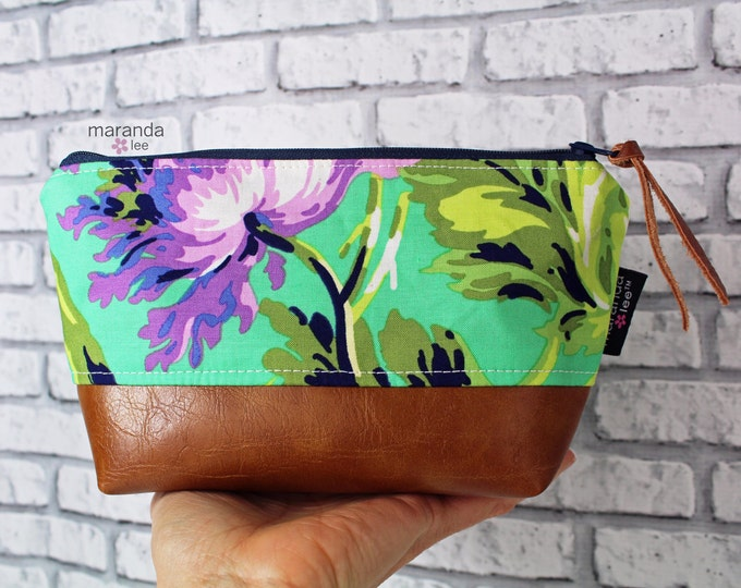 AVA Small Clutch -Bliss Purple  with PU Leather  Cosmetic Toiletries bag Travel Make Up Zipper Pouch