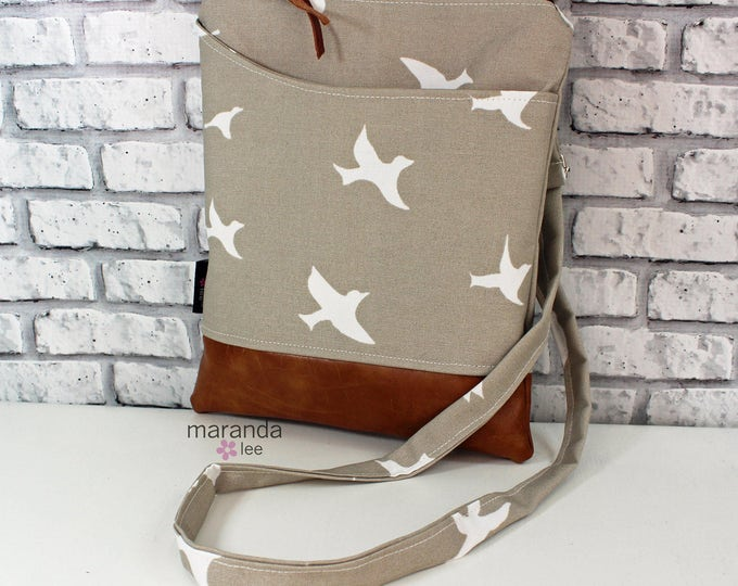 ZOE Messenger Cross Body Sling Bag - Tan Birds -  with Outside Pocket and PU Leather  READY to SHIp