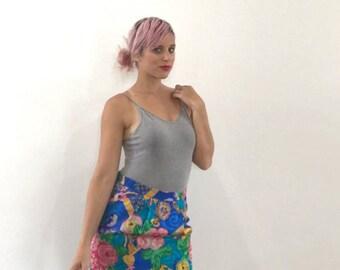 Vintage 80's Bright Gaudy Print Silk Knee-Length Pencil Skirt