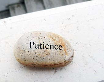 Patience Engraved Stone, Gorgeous stone,Inspirational Sandblast, Perfect Unique Gift Ideas, Natural Beach Pebble Rock