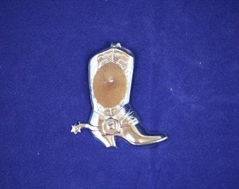 Bolo Slide Silver Plated Cowboy Boot w/spur 18 x 25mm Vertical bezel mount