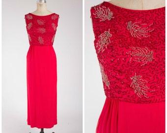 Vintage 1960s Dress • Crimson Royale • Bright Red Chiffon 60s Beaded Evening Gown Size Medium