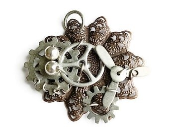 Steampunk Antiqued Silver Filigree Pendant