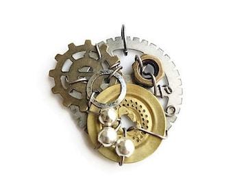 Gold beaded Steampunk Pendant