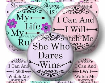 Inspirational, Sayings, 20mm Circles, Digital Collage Sheet, Motivational, Quotes, 20mm Round Images, Instant Download, Words (2017-1)