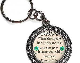 Key Chain Or Purse Charm, Proverbs 31:26, Her Words Are Wise, Key Ring, Zipper Pull, Religious Bible Verse Christian Scripture, Woman of God