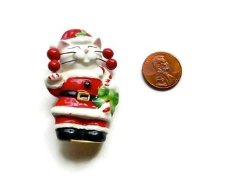 Vintage Santa Cat Ceramic Brooch Christmas Pin Stocking Stuffer Cat Lover