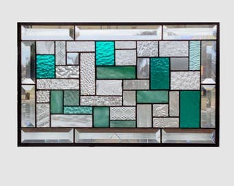 Bevel Stained glass panel window hanging teal aqua clear geometric stained glass window panel  suncatcher 0215 18 1/2 x 11 1/2