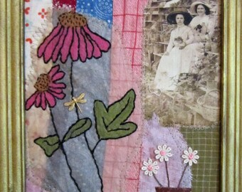 Art Quilt/Art/Quilt/Fabrc Collage/Textile Art/Vintage Textiles/Vintage Photo/Tea Bag/Stitched/Embroidery/Recycled/Applique/Sewn/OOAK/Pieced