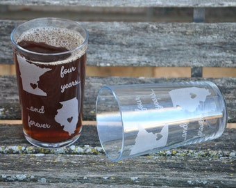 His & Hers State Pint Glasses. Wedding, Groomsmen Gift, Dad. Laser Engraved Beer Pilsner Glass. Party Favor, Wedding Favor, Custom