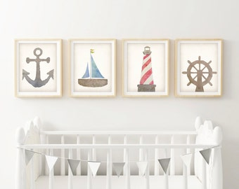 Nautical Nursery Decor - Wall Art Canvas - Canvas Nursery Art - Sailboat Art - Art Prints For Kids - Lighthouse Print - Beach Nursery