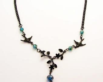 Gothic Victorian Delicate Flower and Leaf Necklace