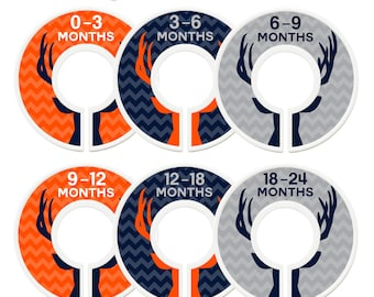 Closet Dividers, Assembled, Baby Closet Dividers, Closet Organizers, Boy, Deer, Antlers, Navy, Orange, Gray, Woodland Nursery Decor Boy
