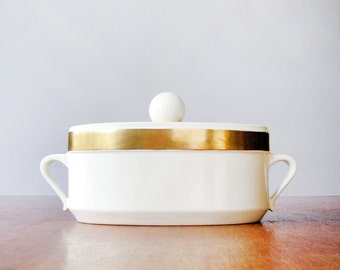 Mid Century Ernest Sohn Creations Tureen / Casserole / Catch All Covered Dish Gold Decor