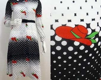 VINTAGE 1970s Funky Retro Black White Spot Novelty Red Hat Print Dress UK 10 EU 38 / Unique / Quirky