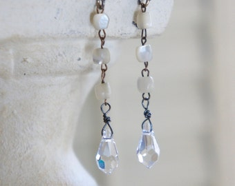 Assemblage earrings vintage mother of pearl crystal drops rosary chain mop jewelry   assemblage jewelry F495-by French Feather Designs.
