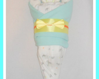 Neutral Baby Diaper Cake Baby Elephant Theme-Adorable Baby Gift Or Shower Centerpiece