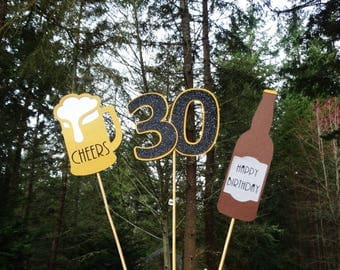 Beer Birthday Cake Toppers, Beer Centerpieces, 21st Birthday, 30th Birthday, 40th Birthday, Cheers Party Decoration, Your Choice Age