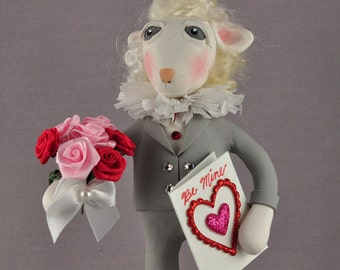 Little Lamb Valentine's Day Figurine, Polymer Clay Art Doll