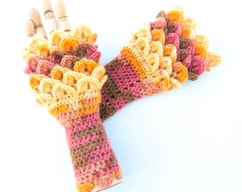 Dragon Scale Wrist Warmers - Crocodile Stitch Fingerless Gloves - Women's Sizes - Angora Crochet Gloves