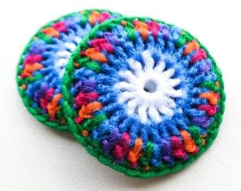 Jewel Tone Nylon Dish Scrubbies - Set of 2 through 8 - Large Crochet Pot Scrubbers - 5 inch Kitchen Sponge