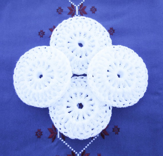 Crochet Nylon Pot Scrubbies - Set of 2 through 8 - Bright Winter White Scrubber