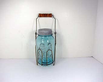 Vintage BLUE BALL CANNiNG JAR & Wire Holder RUSTiC Wood Handle + Brass Circa 1910s Perfect Mason