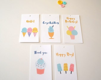 Ice Cream Gift Tags - Gift Packaging - Set of 10- Assorted Gift Tags