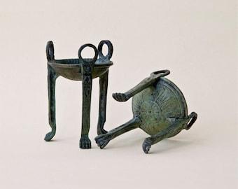 Bronze Vessel, Greek Sculpture Tripod Mini Bowl, Tealight Holder Metal Sculpture, Ancient Greece Sanctuary Tripod Museum Replica, Art Decor