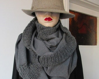 Grey Scarf, Wool scarf, Winter Scarf, Striped Scarf, tube scarf, woman scarf,men scarf, infinity scarf, unisex scarf, man  infinity scarf,