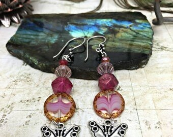 Butterfly Earrings - Butterfly Jewelry, Forest Gift, Insect Jewelry, Moths, Pink Butterflies, Butterfly Gifts, Nature Gifts, Pink Earrings