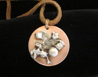 Copper and Sterling Silver Pendant on Leather