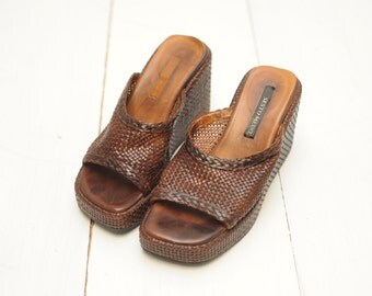 Vintage Sesto Meucci Brown Woven Leather Sandals, Made in Italy, Womens 5 1/2 / ITEM367