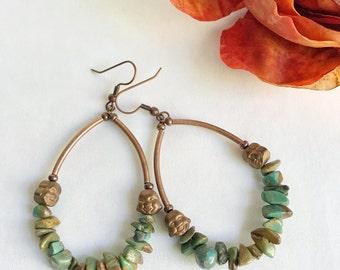 Bohemian hoop earrings, boho chic gemstone earrings, turquoise and copper, smiling Buddha, gemstone chip, colorful boho earrings, rustic
