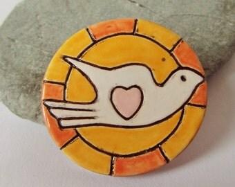 Ceramic White Dove Sun Brooch Pin,  Bird Brooch, Large Brooch, Bird Jewelry, Dove Jewelry, Dove Pin, Shawl Pin, Scarf Pin, White Dove