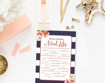 Navy Blue and Coral Mad Libs Game, Bridal Shower Games Printable Floral Blue Bridal Shower Mad Libs Instant Download BR13a