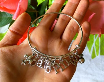 Initials Silver Charm Bangle! Choose TWO Whimsical Silver Letters-CUSTOM Necklace, Bracelet-Personalized Metal Alphabet Charms-Name-Mom-BFF