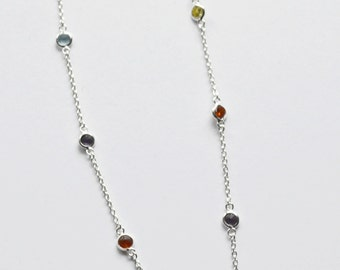 Sterling silver colored crystal necklace - ruby - topaz - aquamarine - amethyst