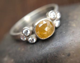 Golden Yellow Cushion Rose Cut Diamond Ring with Accent Diamonds Bezel 14K White Gold Rustic Diamond Engagement Ring Conflict Free Wedding