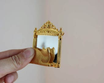 Vintage Cat looking into Mirror Gold Pin