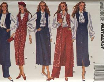 Butterick 6816, Size 18-20-22, Misses'/Misses' Petite Jumper, Top, Blouse, Jabot, Skirt and Pants Pattern, UNCUT, Today's Wardrobe, Vintage