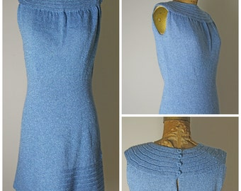 1960s Knit Blue Mod Lurex Dress