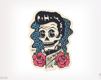 Elvis Presley Skull Sticker Day of the Dead Elvis Presley Dead by Ganbatte Team Sticker