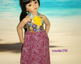 "Halter Maxi Dress ""Summer Colors"", Handmade Doll Clothes for 20"" Maru and Friends, Dianna Effner Sculpt, by traveller240"