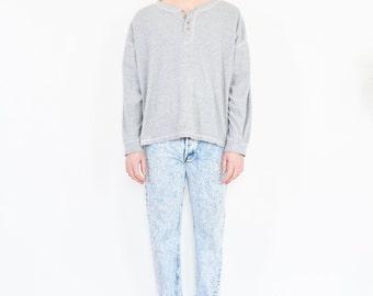 90s Light Grey Oversize Henley Shirt