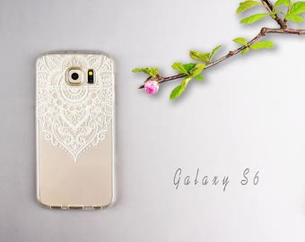 Galaxy S6 case Clear Galaxy S6 edge cover Galaxy S7 edge skin Painted white lace flower soft silicone case - TSWS6006U