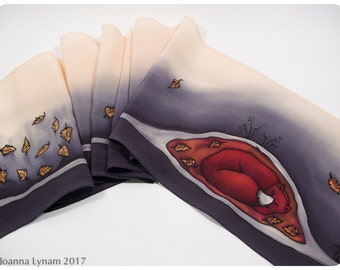 "Fox Silk Scarf ~ Handpainted silk scarf. 8""x52"". Fox scarf. Painted silk scarves. Hand painted silk scarves. Hand-painted silk scarf."