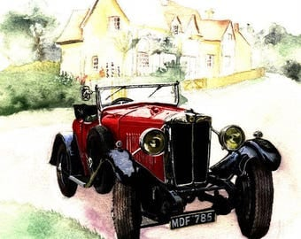 Vintage Cars Greetings Cards
